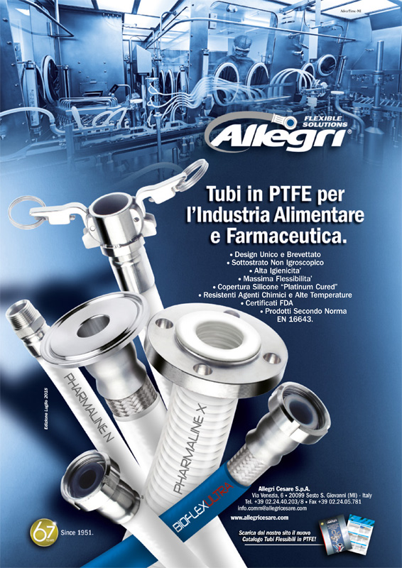 Tubo teflon PTFE rivestito d'acciaio per fluidi W/PHARMALINE N ALLEGRI