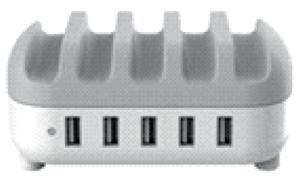 Sistema di ricarica multiplo per 5 dispositivi