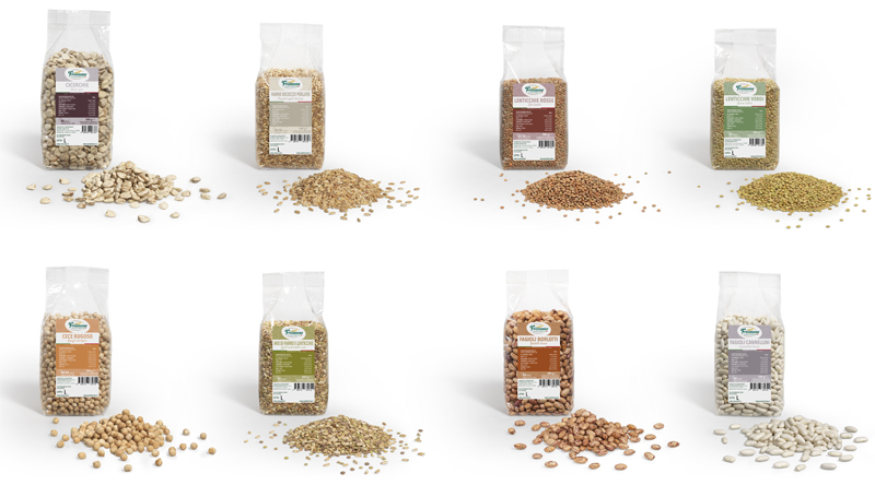 Legumi e cereali confezionati