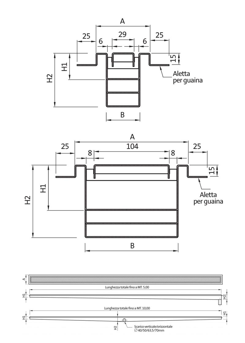 Canalette per terrazzi - disegni tecnici