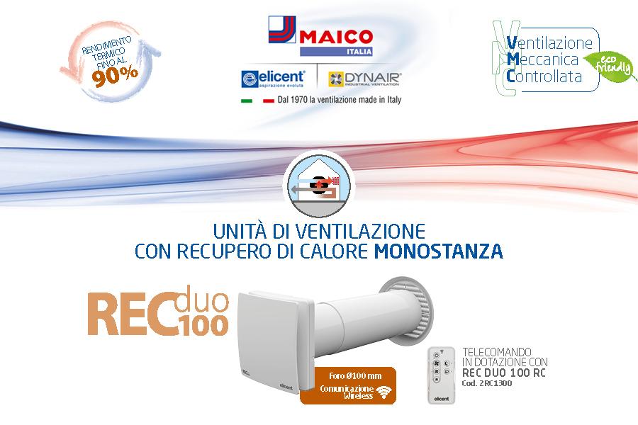 VMC doppio flusso decentralizzata REC Duo 100