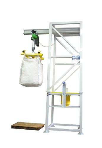 Stazione svuota big bag con sistema di caricamento tramite paranco serie Bretella BBSPAR