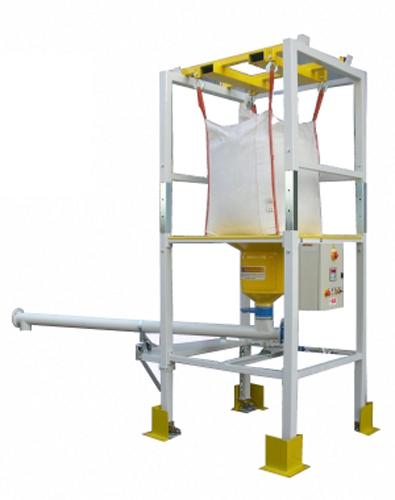 Stazione svuota big bag con sistema di pesatura in sottrazione e coclea di dosaggio orientabile serie Bretella BBSCTCO