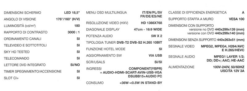 Dettagli tecnici TV SAT 19 pollici