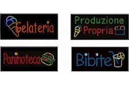 Insegne led color per ristorazione, Horeca e supermarket