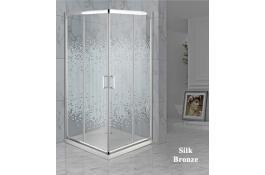 Cabina doccia con porta scorrevole angolare Mod. Silk Bronze