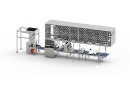 Impianto per produzione pane arrotondato con cella di prelievitazione