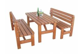 Tables and benches for outdoor use in solid wood Set Tirolo