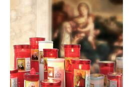 Votive candles with holy images