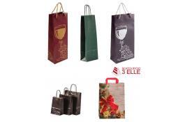 Borse in carta colorata e personalizzate per bottiglie, confezioni regalo e spesa