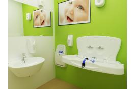 Wall changing table and folding chair