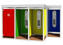 Outdoor: Cabina doccia modulare per stabilimenti balneari Mody con impianto di sanificazione ed igienizzazione