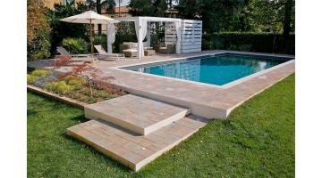 Production of outdoor poolside floors