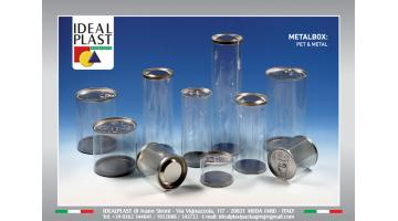 Packaging in pet con coperchio in metallo