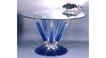Tavoli realizzati a mano in argento e vetro