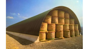 Metal cover for hay storage