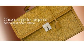 Chiusura glitter argento per borse