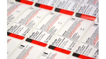 Self-adhesive labels for drugs