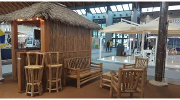 Straw and wood furniture for beach establishments