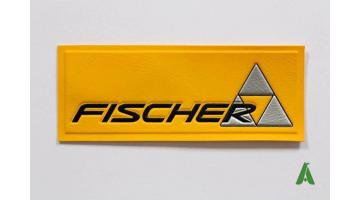 Patch 3D gommati in pvc con logo Fischer da cucire
