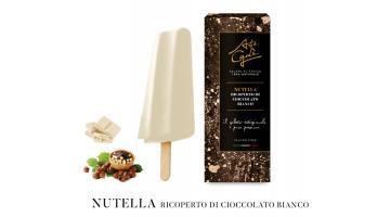 Gelato su stecco alla nutella ricoperto di cioccolato bianco