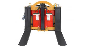 Rovesciatore idrualico a forche per contenitori