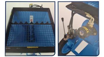 Pompa con griglia di protezione e motore idraulico