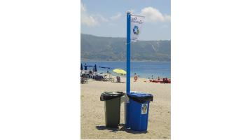 Isola ecologica per raccolta rifiuti in stabilimenti balneari