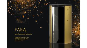Termostufa a pellet rotonda di design colore oro