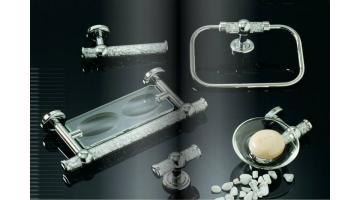 Accessories bathroom furniture with Swarovski crystals