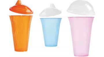 Bicchieri in PP trasparente e colorato per bibite fredde con coperchi