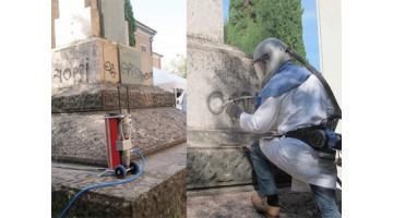 Sabbiatrice portatile per restauro monumenti