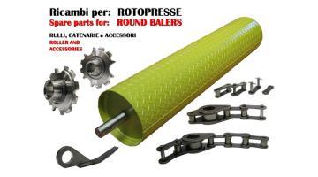 Ricambi per imballatrici catenarie rulli e accessori per rotopresse