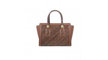 Borsa donna a mano in pelle intrecciata collezione Leather&Copper marrone