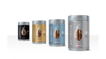 Ground coffee in jars