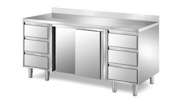 Banchi Da Lavoro Acciaio Per Cucina : Tavolo armadiato in acciaio inox per cucine professionali metaltecnica