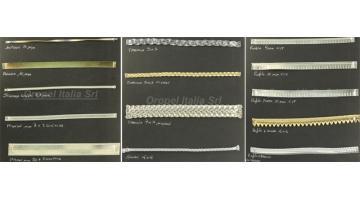 Accessori moda: profili e trecce in sintetico metallizzati