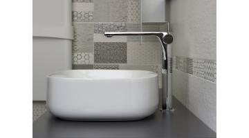 Design mixer for extended washbasin without drain