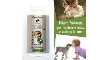 Polvere profumata per cani e gatti all'olio di neem