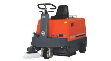 Battery powered sweeper with man on board