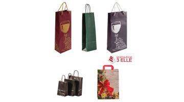 Borse in carta per bottiglie, articoli regalo e spesa