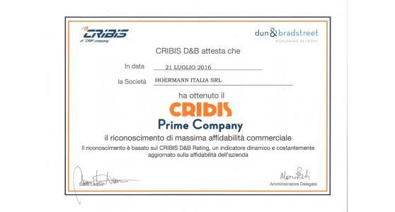 Hörmann Italia ottiene il Cribis Prime Company